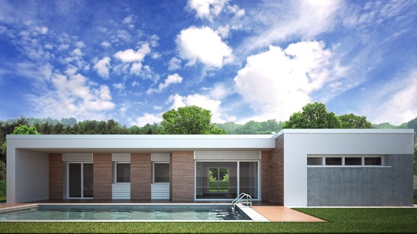 floor villa pool 3D model
