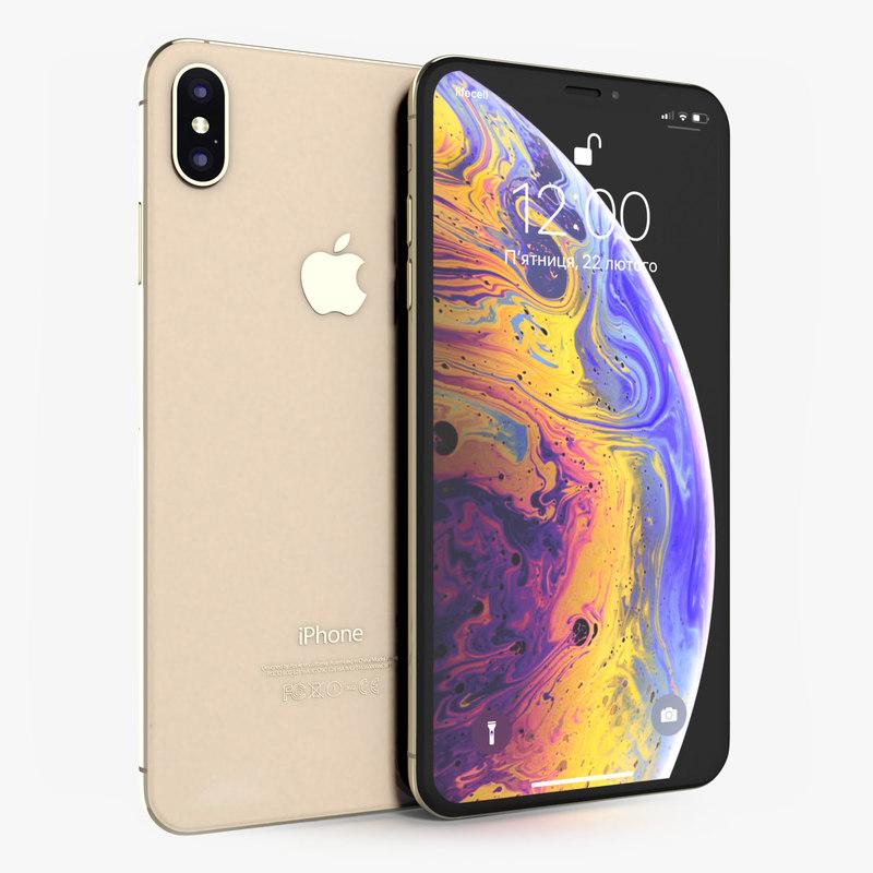 apple iphone xs gold 3D
