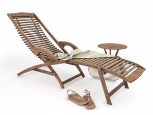 wooden chaiselongue 3D model