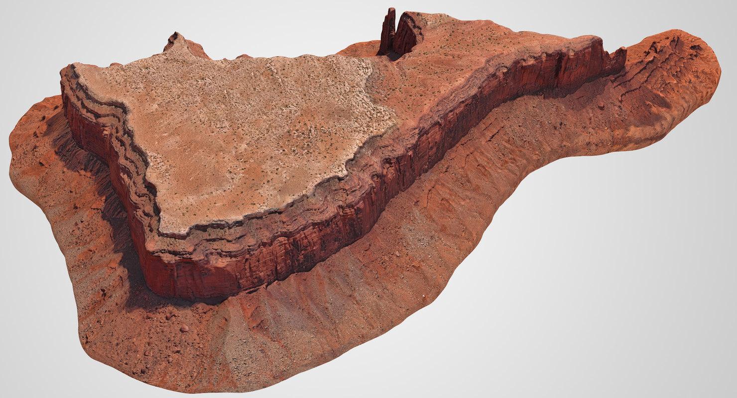 3D sandstone butte 11