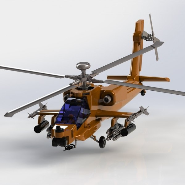 3D model ah 64 apache attack helicopter