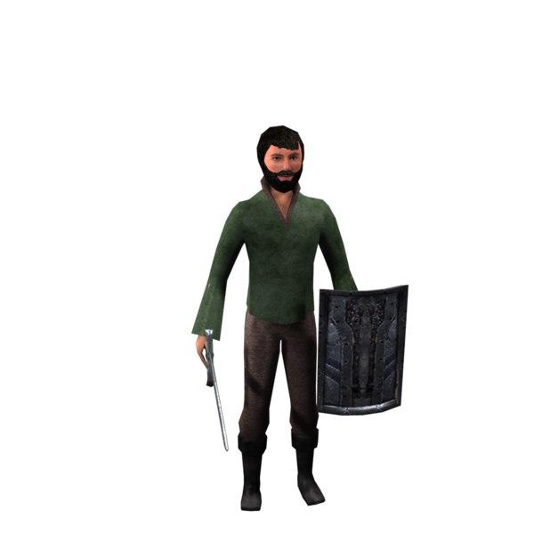 rpg clothes hair sword 3D model