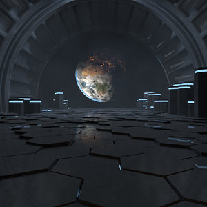 3D concepts alien space station interior