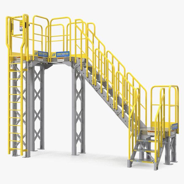 industrial steel catwalk stairs 3D