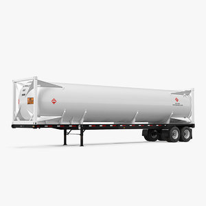 3D model gas tank lng trailer