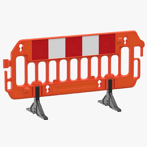 3D model construction barrier 01 orange