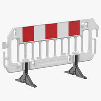 construction barrier 01 white 3D model