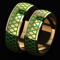 3D model enamel diamonds ring