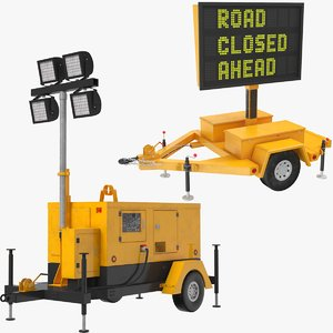 construction equipment sign 3D