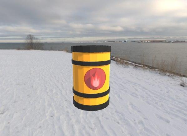 3D model cartoon barrel