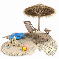 summer beach set 3D model