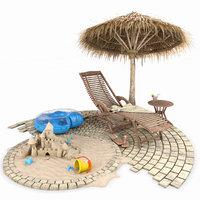 summer beach set 3D model