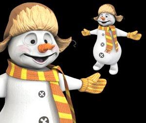3D snowman character model