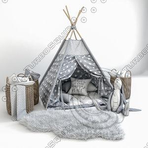decorative set children-a wigwam 3D