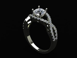 3D solitaire ring