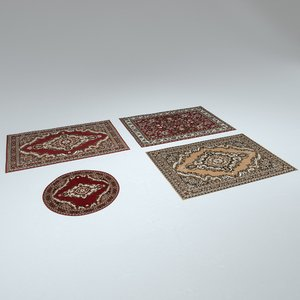 3D model 4 persian rugs