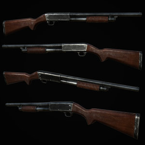 3D ithaca 37 shotgun gun model