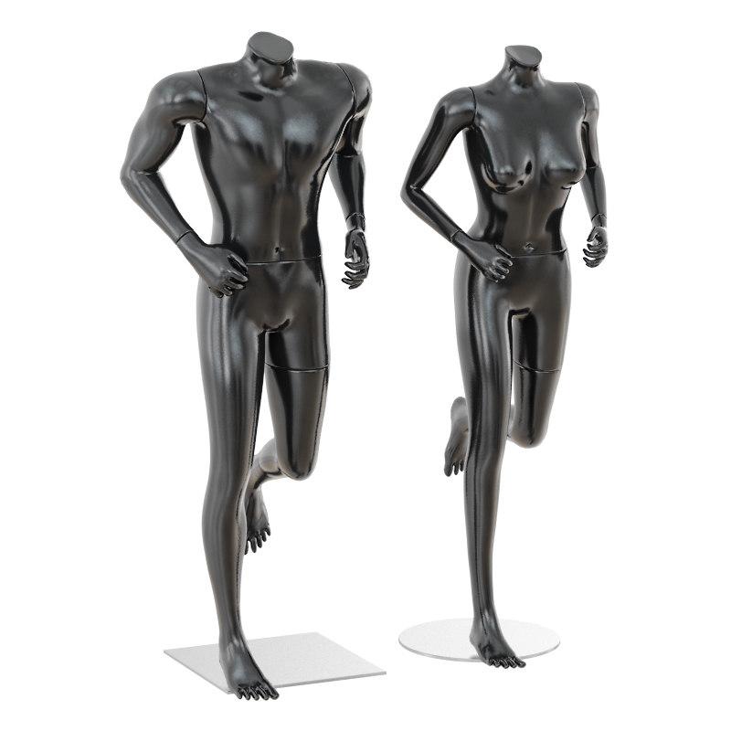 3D running mannequin man woman model