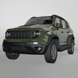 3D jeep renegade green trailhawk