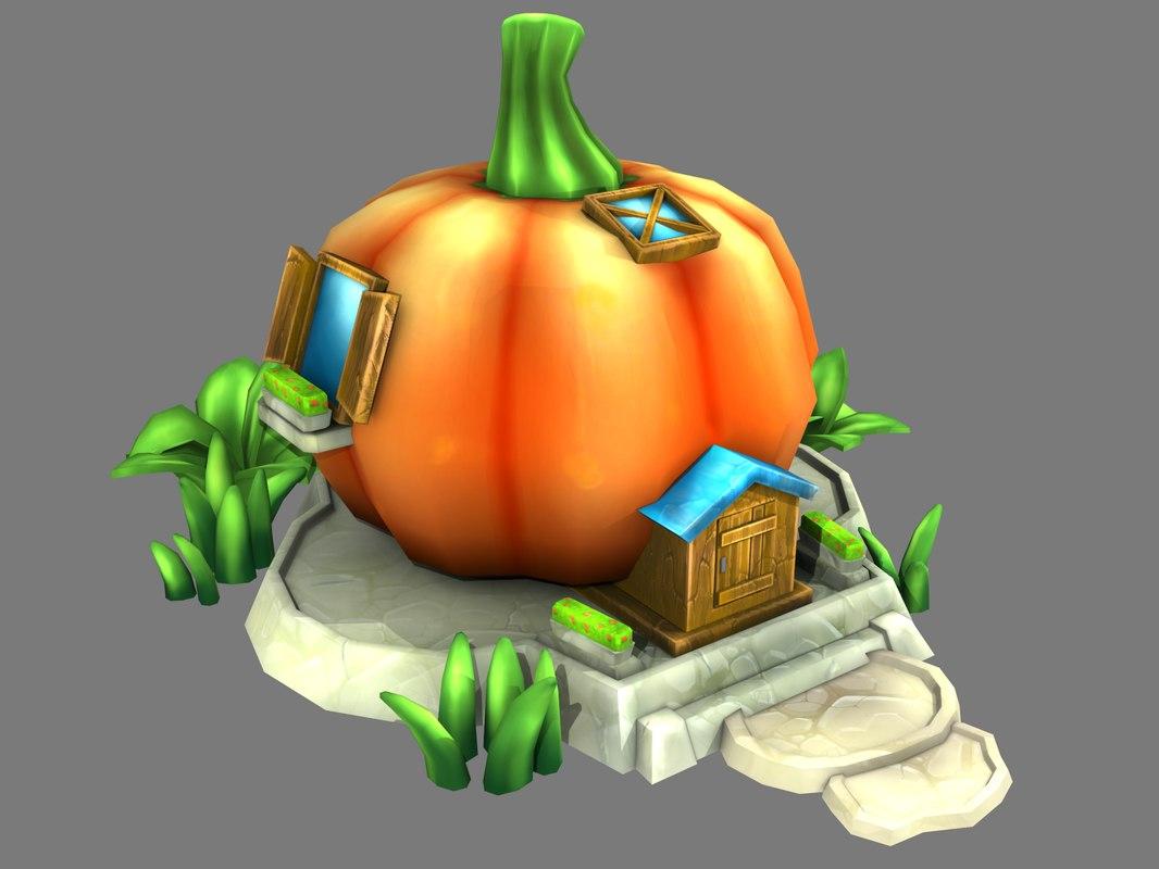 cartoon house pumpkin model