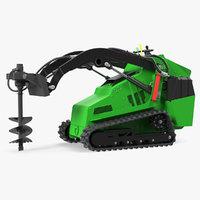Mini Skid Steer Loader with Auger 3D Model
