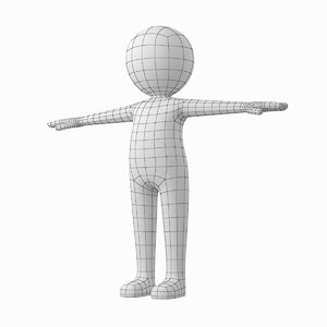 3D stylized stickman t-pose character model
