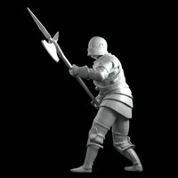 Alebardist later middle ages in battle 3D print model