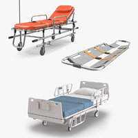 ambulance stretcher medical bed 3D