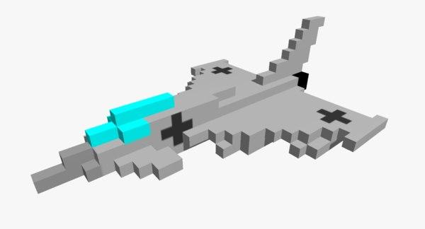 3D pixelated eurofighter typhoon jet fighter