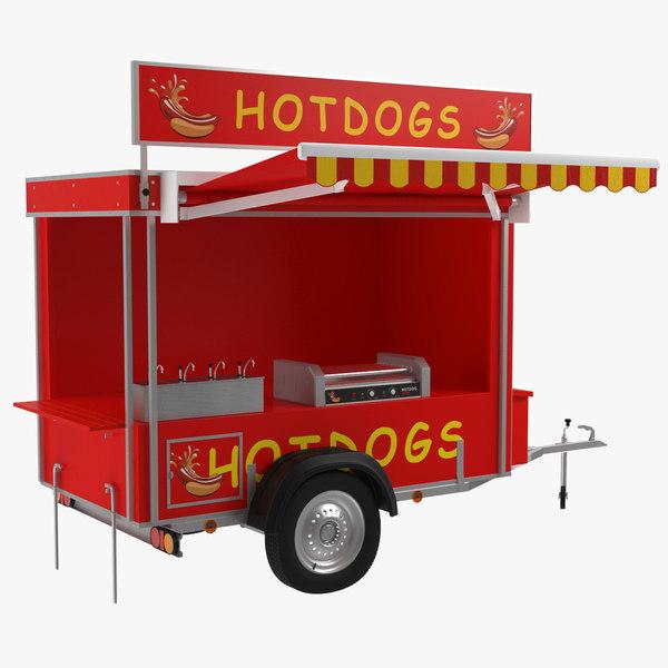 3D hotdog stand model
