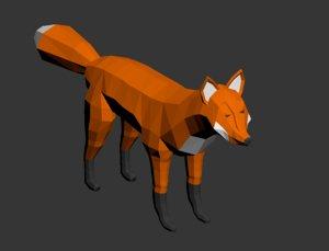 3D model fox rigged