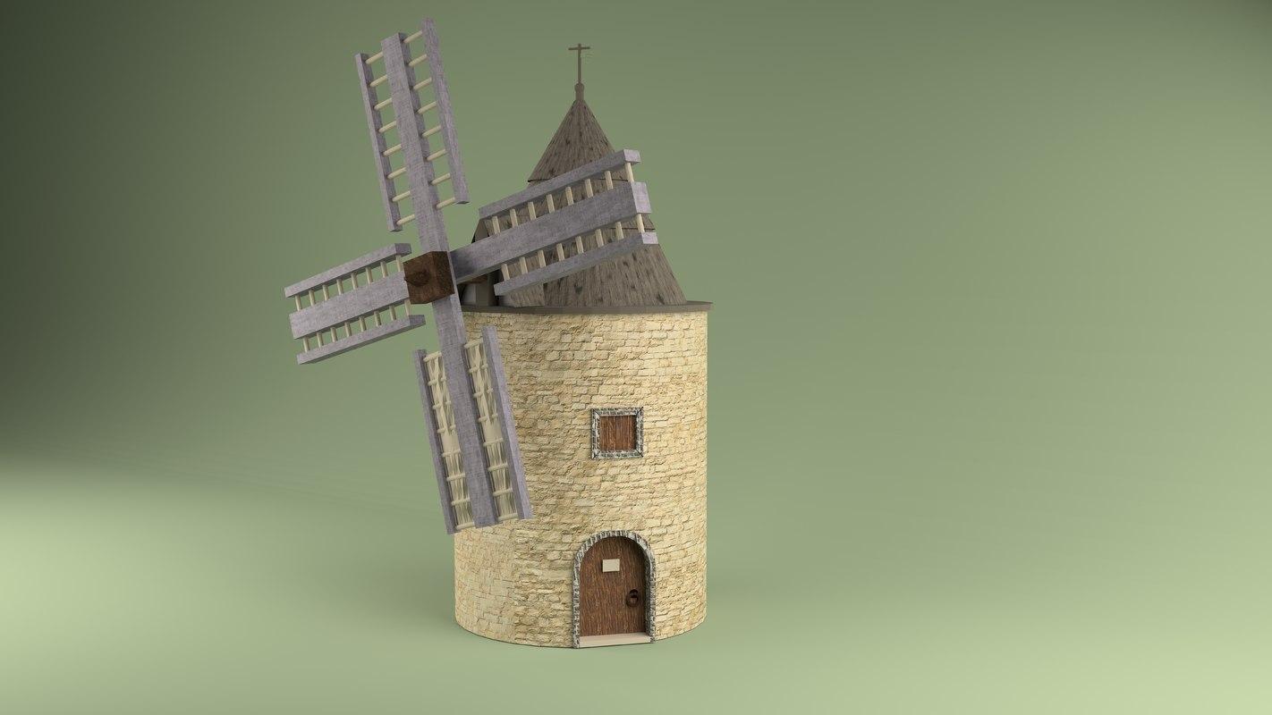 3D windmill building model