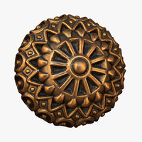3D model ornate button