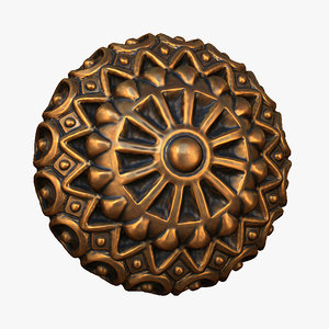 3D model ornate button