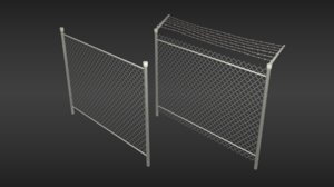 chain-link fence set 3D