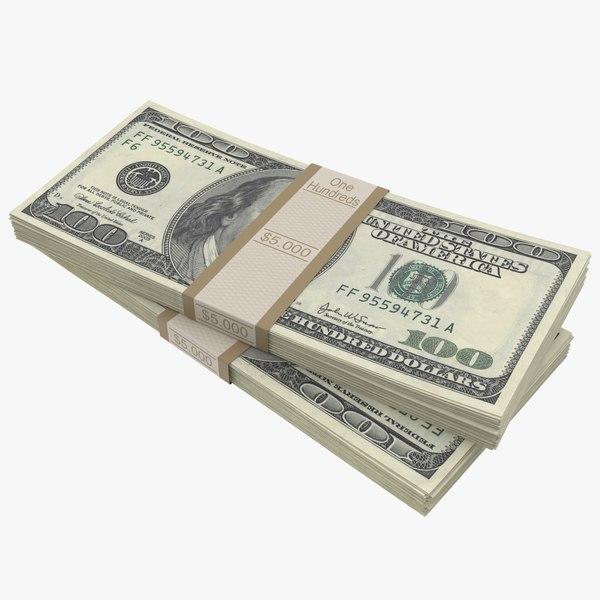 100 dollar bills stack 3D model