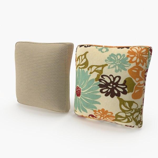 squere pillows set 01 3D model