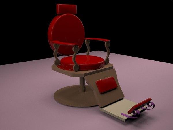 3D barber shop chair model
