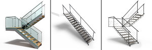 glass metal stairs 3D model