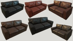 3D old leather couches pbr