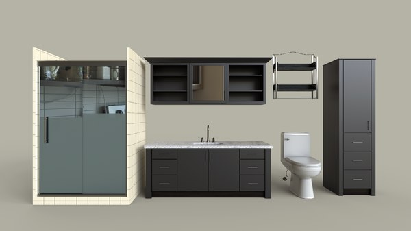 3D dark modern bathroom set model