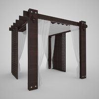 Small Architectural Form Wooden Gazebo Wenge Color