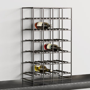 3D model black iron wine rack