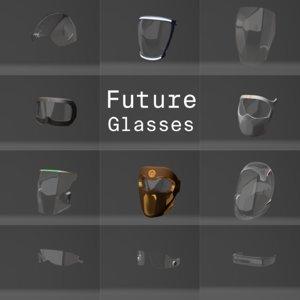 futuristic glasses masks 3D