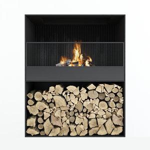fireplace firewood 3D model