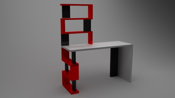 3D table shelves low-poly model