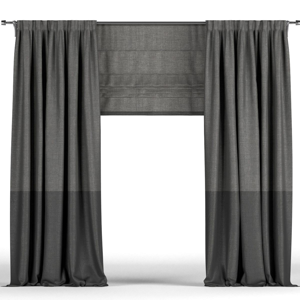 Black Curtains In Two Shades And Black Roman Blinds
