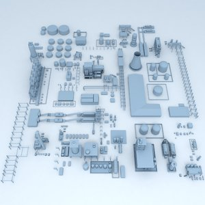 3D factory industrial buildings