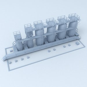 3D factory industrial building