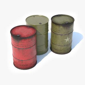 steel barrels 3D model